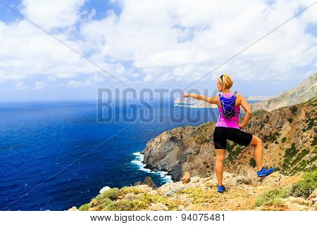 Happy Trail Runner Woman Looking At Mountains