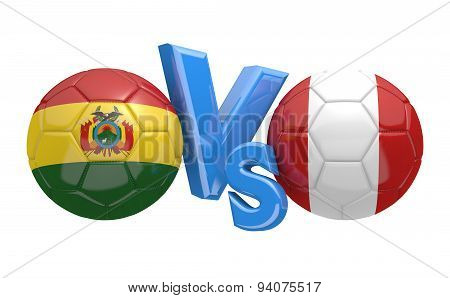 Soccer competition, national teams Bolivia vs Peru
