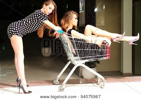 Sexual Women With Shopping Trolley