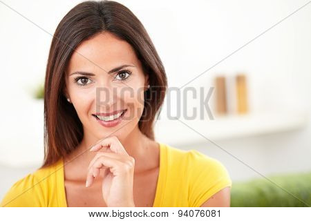 Confident Woman Toothy Smiling At The Camera