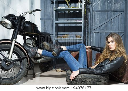 Tempting Sexy Lady Lying In Garage
