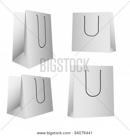 Mockup Blank Foil Food, Drink, Cosmetics Or Clothes. White Realistic Plastic Or Paper Pouch Bag Temp