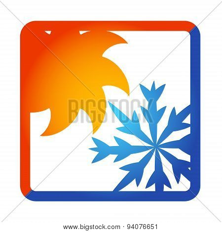 Sun and snowflake for air conditioner