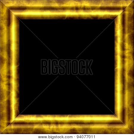 Vintage Golden Metal Or Wooden Frame With Texture