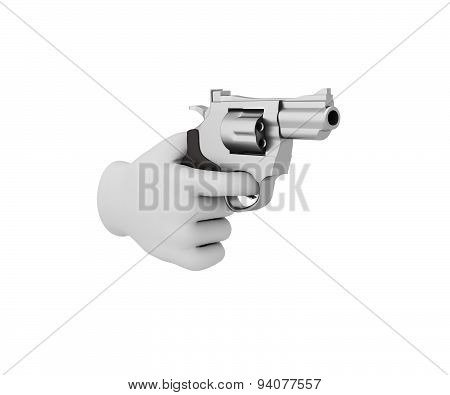 Hand In A White Glove Holding A Revolver. 3D Render. White Background.