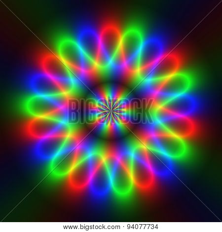 Colorful Rainbow Rays In Circular Electric Pattern