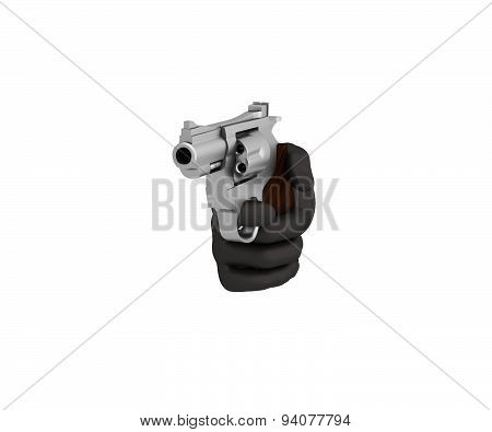Hand In A Black Glove Holding A Revolver. 3D Render. White Background.