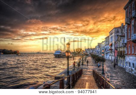 Beautiful Sunset In The Sea Shore Of A Mediterranean Sea, Venice, Italy (hdr)