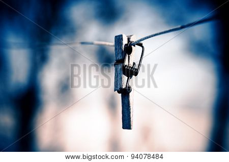 Broken Clothespin On The Wire