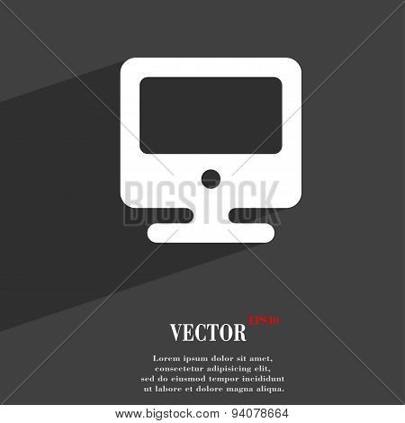 Monitor Icon Symbol Flat Modern Web Design With Long Shadow And Space For Your Text. Vector