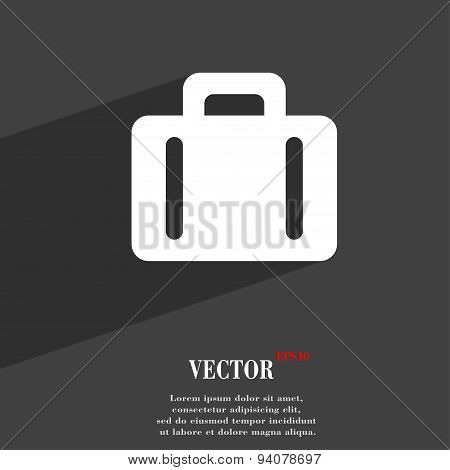 Suitcase Icon Symbol Flat Modern Web Design With Long Shadow And Space For Your Text. Vector