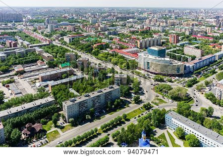 Aerial view on Gas and Oil University. Tyumen
