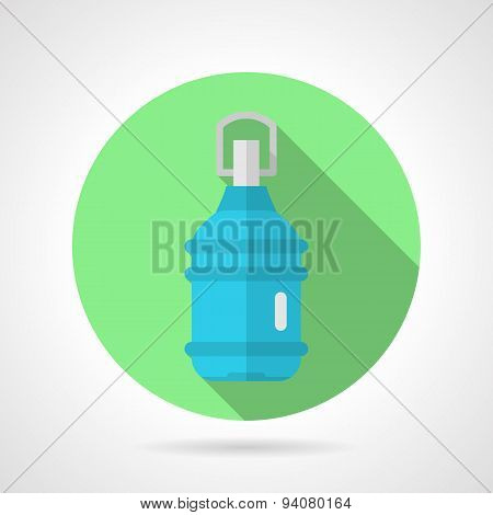 Bottled water flat round vector icon