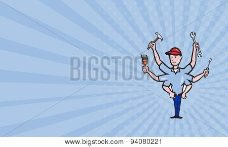 Business Card Tradesman Carpenter Mechanic Plumber Cartoon