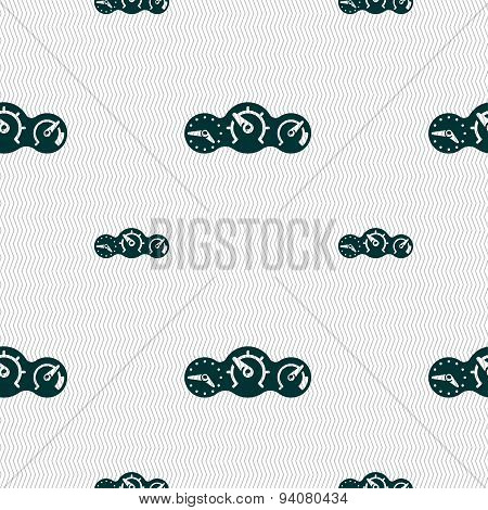 Speed, Speedometer Icon Sign. Seamless Pattern With Geometric Texture. Vector