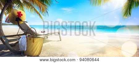 Art Beach Chair And Hat On Sand Beach. Concept For Rest, Relaxation, Holidays, Spa, Resort.