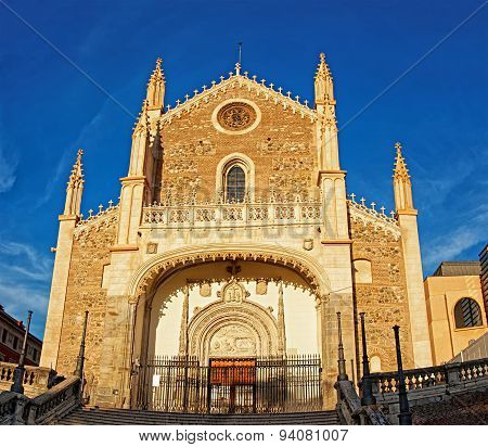 St. Jerome The Royal Church Facade In Madrid