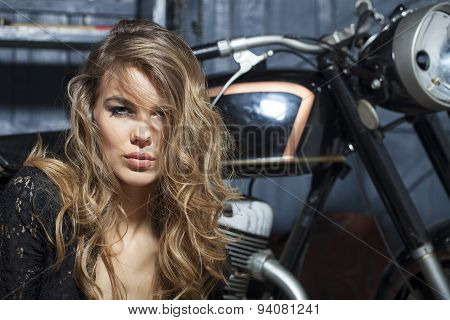 Portrait Of Alluring Girl In Garage