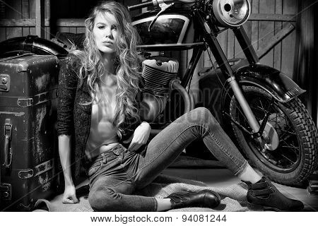 Attractive Woman In Garage