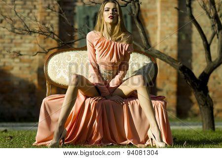 Tempting Girl On Sofa Outdoor