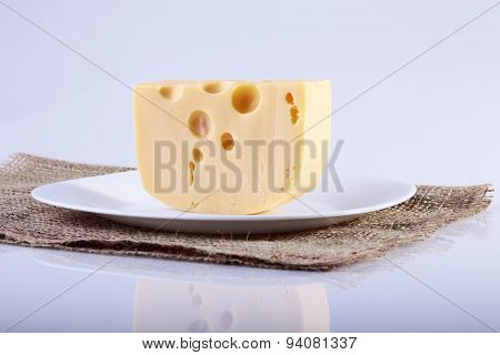 Peice Of Chesse On Plate