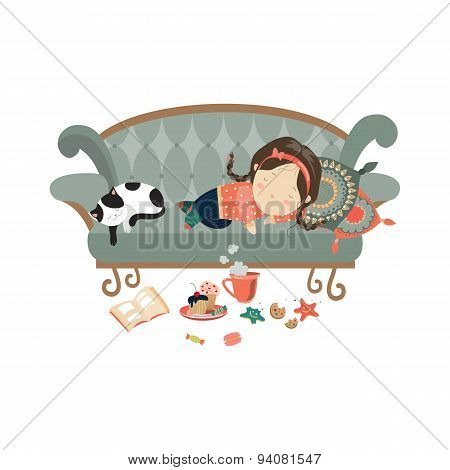 Lazy sleeping girl with cat
