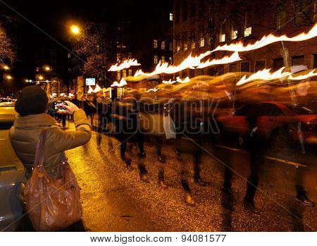 Finnish independence day torchlight procession