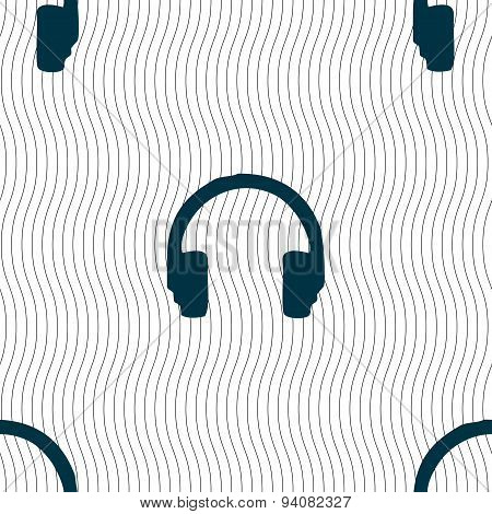 Headsets Icon Sign. Seamless Pattern With Geometric Texture. Vector