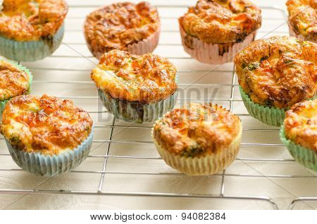 Fresh And Healthy Home Baked Mini Egg Muffins Standing To Cool On A Wire Rack