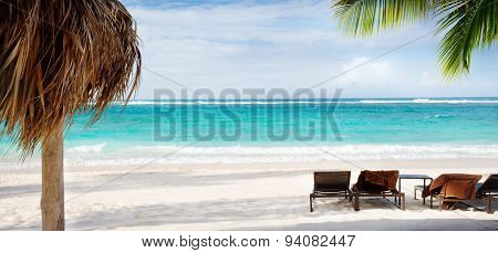 Art Beach Chair And Umbrella On Sand Beach. Concept For Rest, Relaxation, Holidays, Spa, Resort.