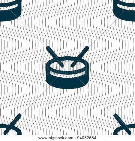 Drum Icon Sign. Seamless Pattern With Geometric Texture. Vector