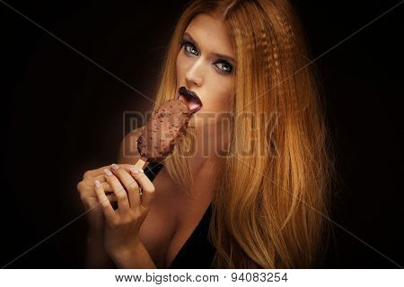 Sexy Woman Licking Chocolate Ice Cream.