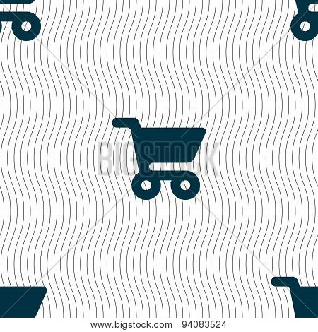 Shopping Basket Icon Sign. Seamless Pattern With Geometric Texture. Vector