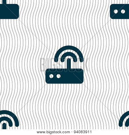 Wi Fi Router Icon Sign. Seamless Pattern With Geometric Texture. Vector
