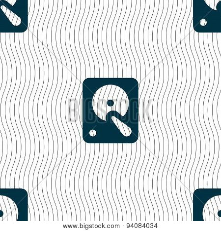 Hard Disk Icon Sign. Seamless Pattern With Geometric Texture. Vector