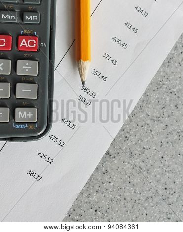 Bank Statement With Pencil And Calculator