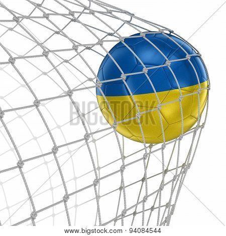 Ukrainian soccerball in net