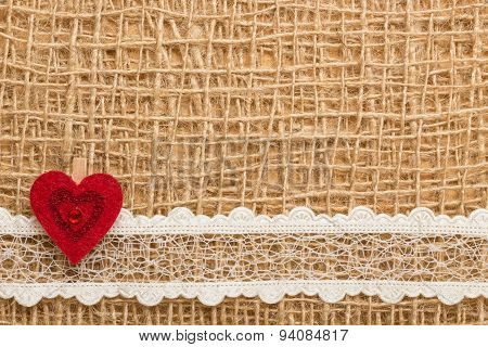 Red Heart On Abstract Cloth Background