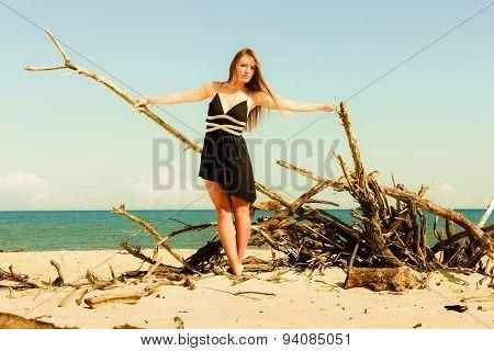 Seductive Woman Outdoor On Beach.