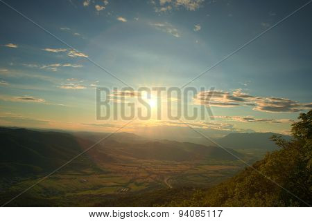 Sunset On Mt Nanos Above Vipava Valley Slovenia Central Europe