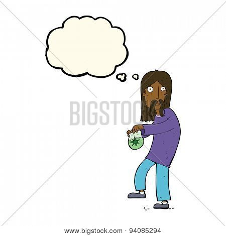 cartoon hippie man with bag of weed with thought bubble