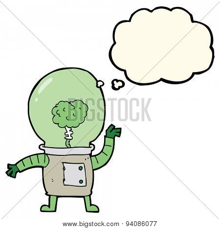 cartoon robot cyborg with thought bubble