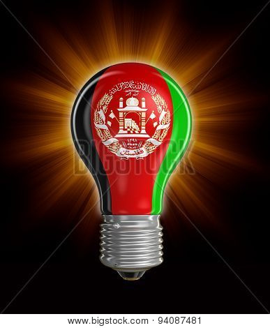 Light bulb with Afghani flag (clipping path included)