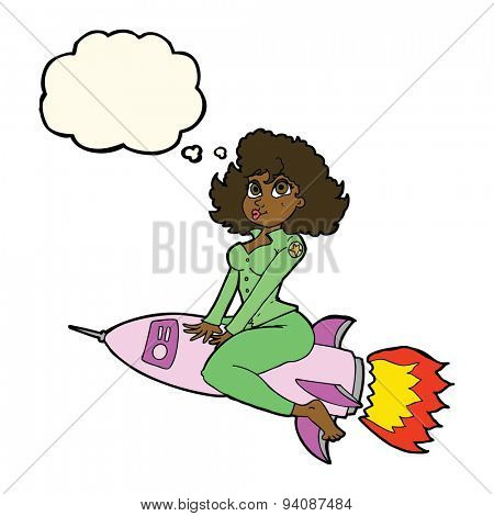 cartoon army pin up girl riding missile with thought bubble