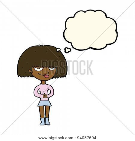 cartoon sly woman with thought bubble