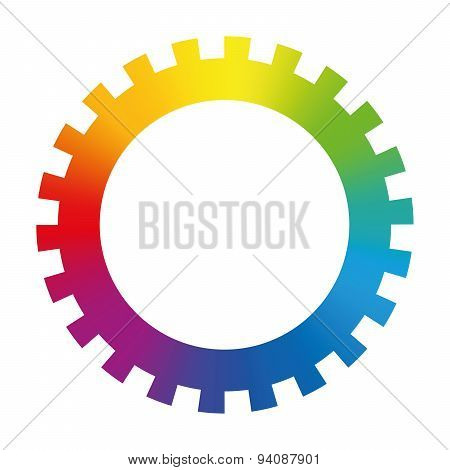 Gear Cog Wheel Rainbow Colors Toothed