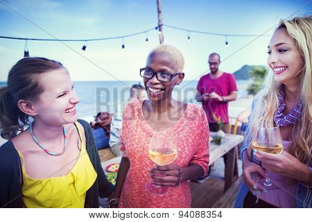 Diverse Beach Summer Party Roof Top Fun Concept