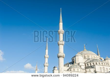 Suleymaniye Mosque against a blue sky, Istanbul, Turkey
