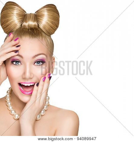 Beauty fashion happy surprised model girl with funny bow hairstyle, pink nail art and makeup isolated on white background. Laughing retro styled young woman. Emotions