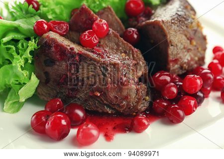 Tasty roasted meat with cranberry sauce on plate, close-up